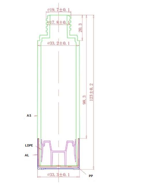 Plano botella AR50B1AJ y AR50B1CJ